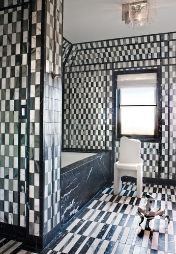 Full black and white bathroom floor tile