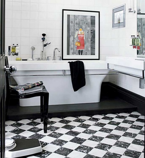 Minimalist bathroom with black and white bathroom floor tile