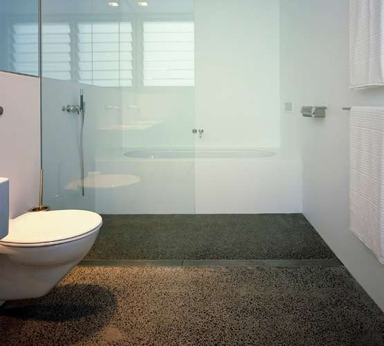 Polished concrete bathroom floor design