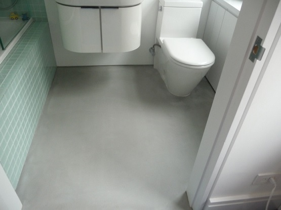 Using concrete bathroom floor and change the look of your for Small bathroom flooring ideas
