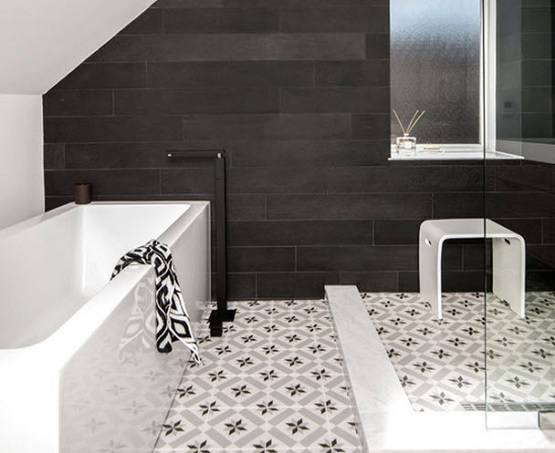 Simple black and white bathroom floor tile design