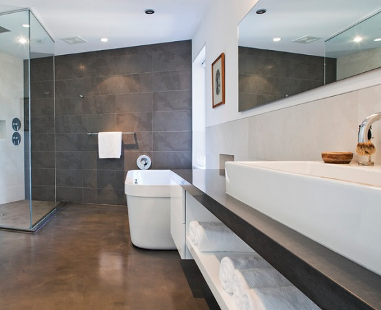Marvelous Using Concrete Bathroom Floor And Change The Look Of Your Bathroom »  Stained Concrete Bathroom Floor For Modern Bathroom Design Good Looking