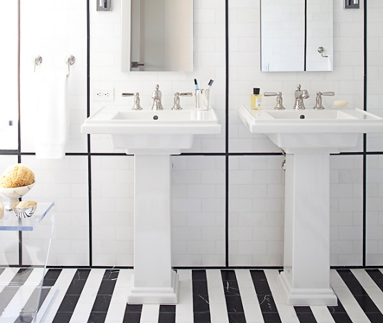 Striped motif black and white bathroom floor tile