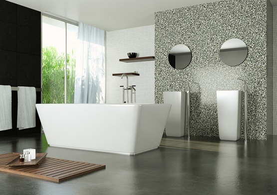Stylish bathroom with concrete bathroom floor