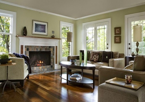 Brazilian walnut flooring in living room with fireplace