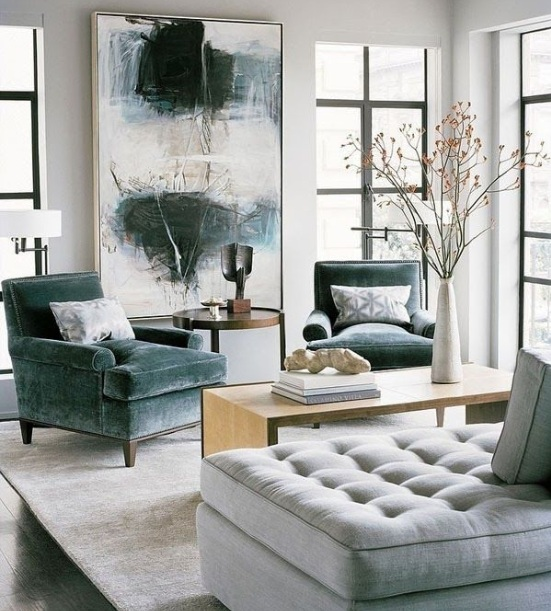 Brazilian walnut flooring in living room with wall art abstract painting
