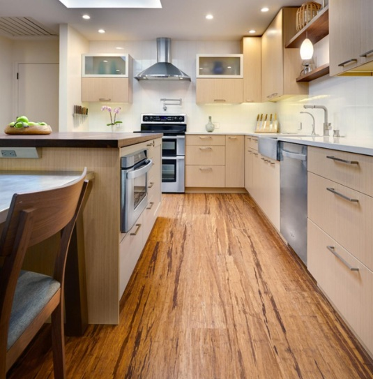 Contemporary kitchen with hand scraped bamboo flooring