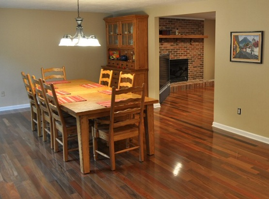 Dining room with brazilian walnut flooring