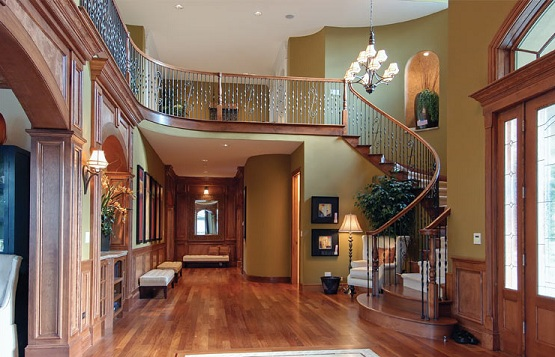Entry room with beautiful red oak hardwood flooring
