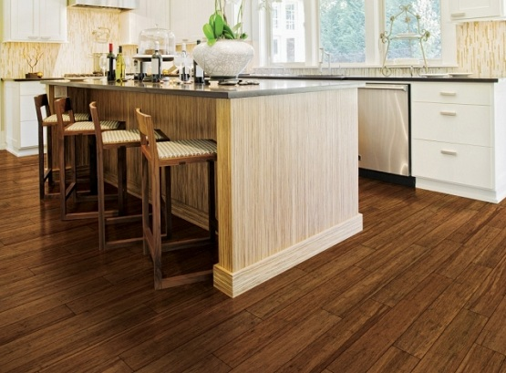 Kitchen with hand scraped stain bamboo flooring