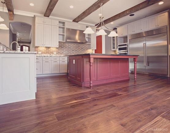 Modern rustic kitchen design with red oak hardwood flooring