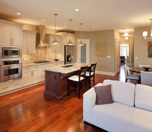 Red oak hardwood flooring in beautiful kitchen decor