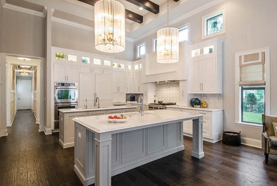 Transitional kitchen style with distressed wood flooring
