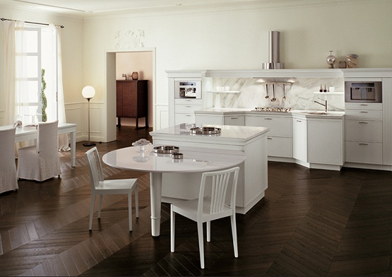 White and clean dining room with distressed wood flooring