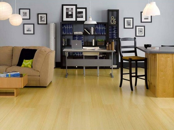 Beautiful home decoration with white bamboo flooring