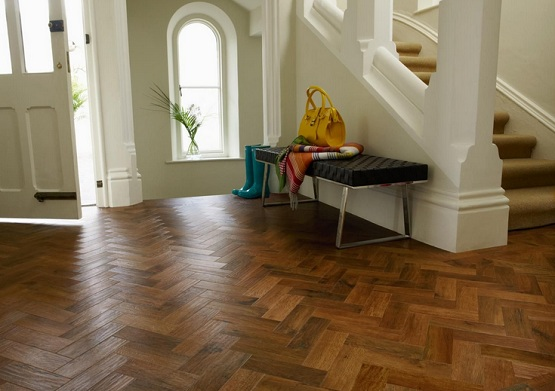 Dark brown reclaimed parquet flooring ideas