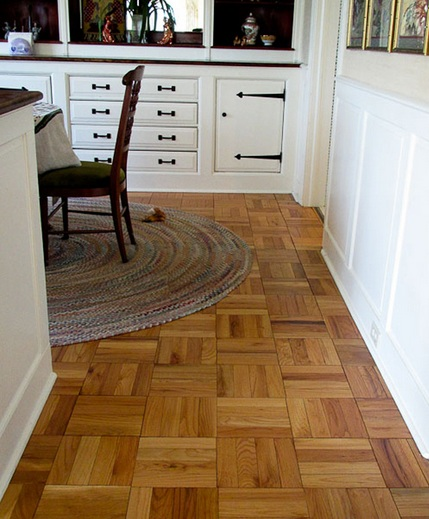 Fingerblock reclaimed parquet flooring design