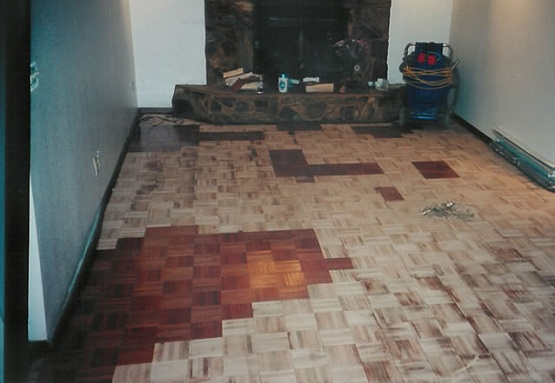 Refinishing parquet flooring in small room fireplace