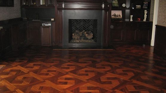 Refinishing parquet flooring with natural color