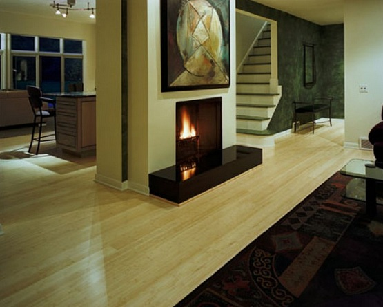 White bamboo flooring combined with cream wall colors