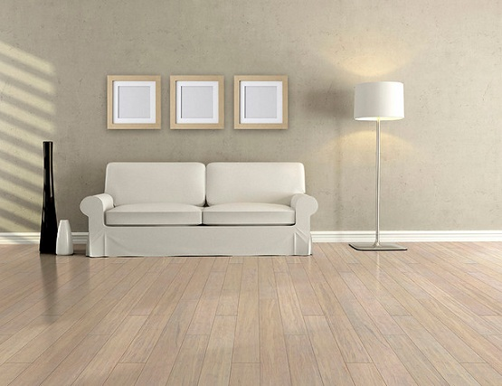 White bamboo flooring on minimalist living room