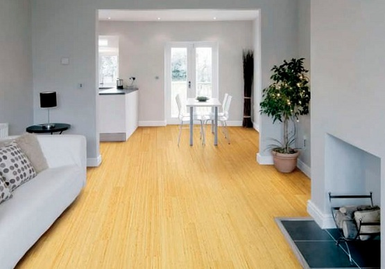 White Vertical Bamboo Flooring On Minimalist Home Decor