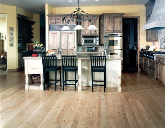 Alder wood block flooring in kitchen