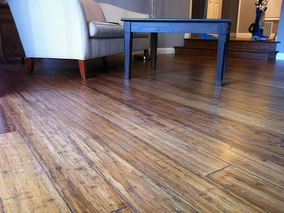 Beautiful distressed bamboo flooring in living room