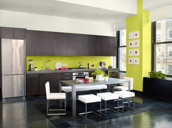 Black laminate flooring for kitchen with minimalist kitchen table