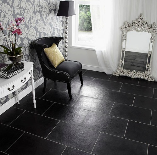Black limestone floor tiles ideas for bedroom