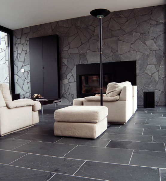 Modern Garage Floor Tiles Design With Grey Color Interior: Black Limestone Floor Tiles Ideas For Contemporary Living