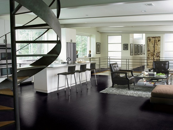 Black vinyl flooring in contemporary kitchen