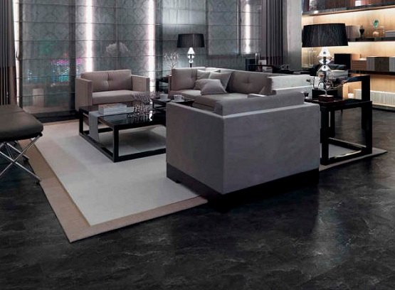 Black Vinyl Flooring Sheet In Living Room With Modern Brown Sofa