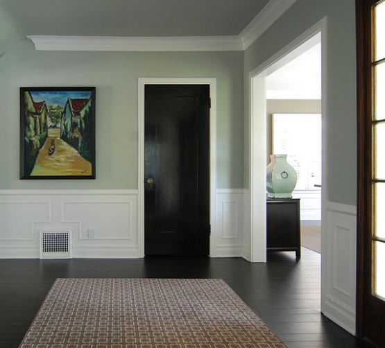 Black wood flooring entryway