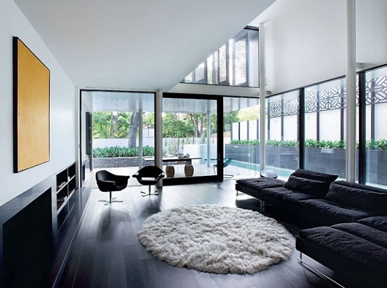 Black wood flooring in living room with black sofa