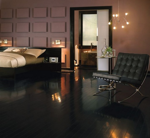 Black wood flooring with high gloss finish