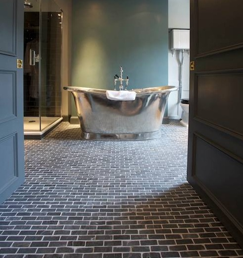 Brick floor tile flooring in modern classic bathroom design ...
