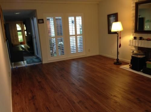 Brown distressed bamboo flooring with hickory model