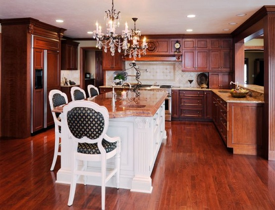 Cherry wood block flooring in traditional kitchen styles
