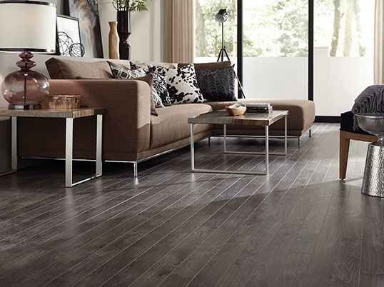 Dark Laminate Flooring For Living Room With Brown Sofa