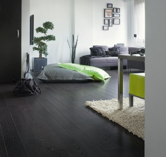 Dark laminate flooring in living room