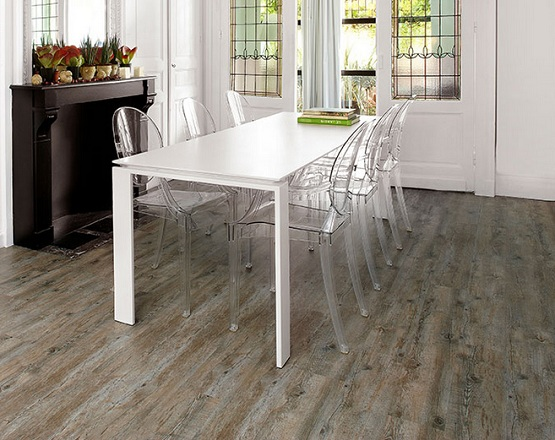 Dining room with distressed bamboo flooring