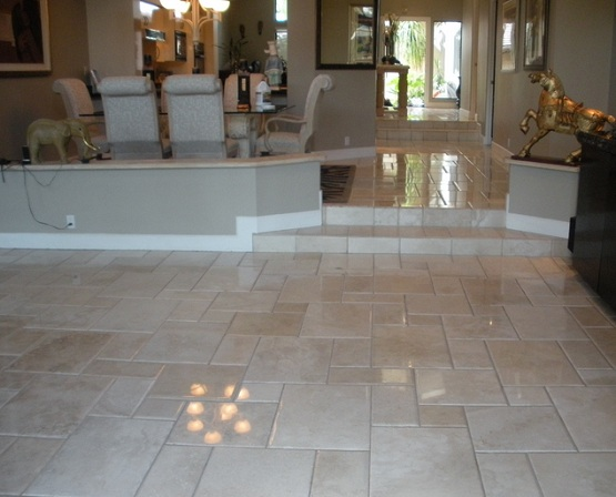 Dining room with polished limestone floor tiles