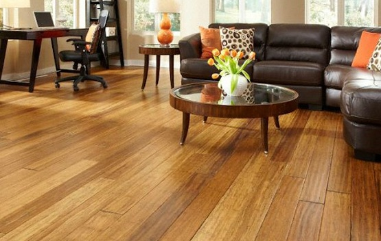 Distressed bamboo flooring in living room