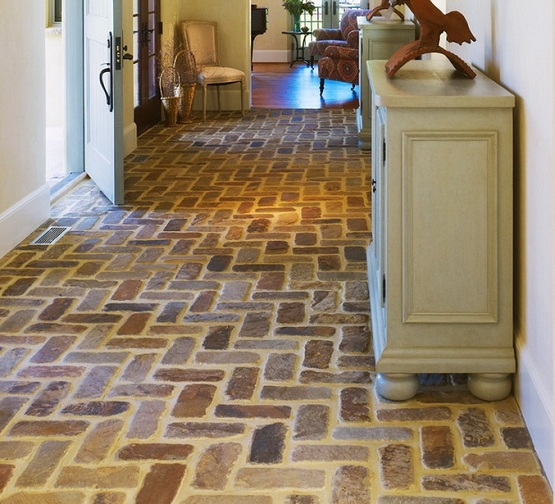 Tile Foyer And Kitchen : Brick floor tile classic and elegant style in modern home