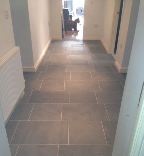 Grey limestone floor tiles for hallway flooring