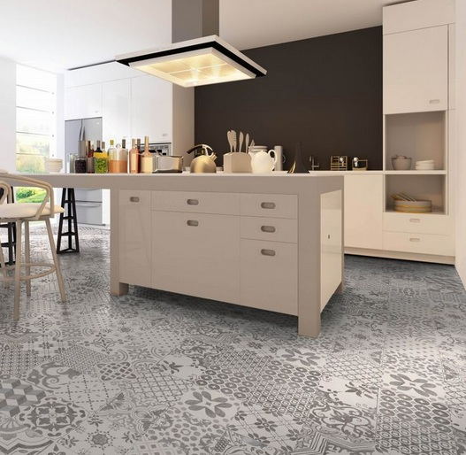 Grey random patterned floor tiles in the contemporary kitchen design