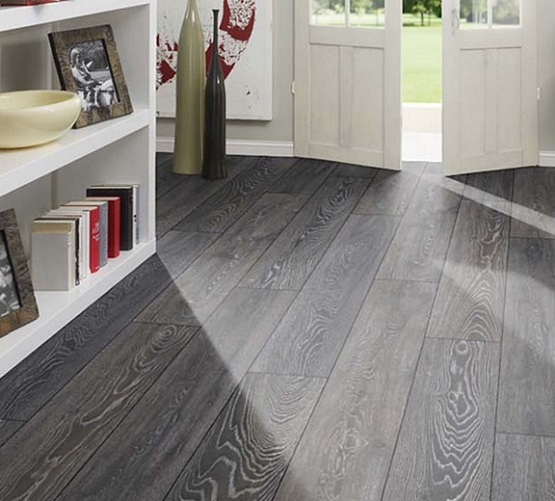 Grey tile effect laminate flooring in entryway