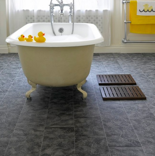 Grey tile effect vinyl laminate flooring for bathroom