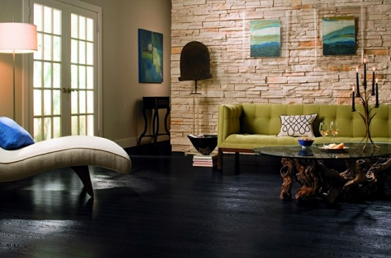 Living room with black laminate flooring